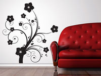 Large floral pattern vinyl wall art decal