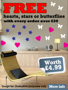 FREE hearts and stars vinyl wall art decals