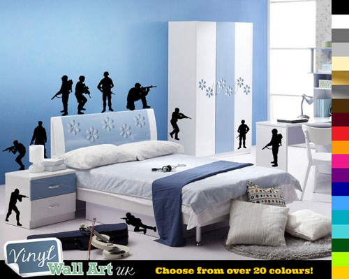 12 x army soldiers vinyl wall art stickers for kids bedroom + free
