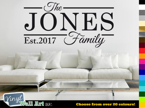 Personalised family name est vinyl wall art sticker