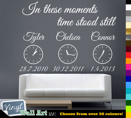 Personalised in these moments time stood still vinyl wall art sticker decal with clocks